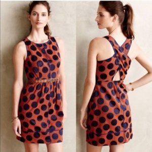 Anthropologie Maeve Rokin Dress Polka Dot  Sz 12